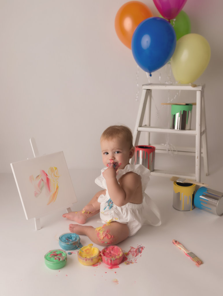 West Palm Beach photographer, cake smash, one year session, cake smash session, paint smash