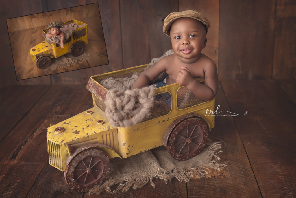 one year milestone, boy, truck prop, west palm beach baby photographer, cake smash, under the big top