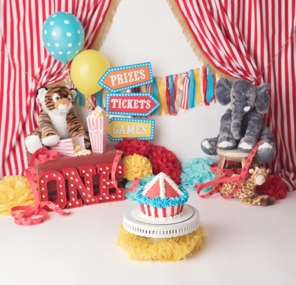 one year milestone, circus, under the big top, west palm beach baby photographer, cake smash