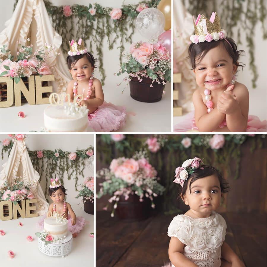 Floral cake smash, michelle lee photography, boho cake smash