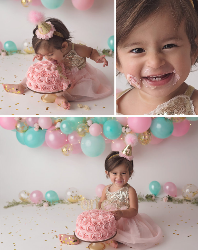 pink and aqua balloon garland