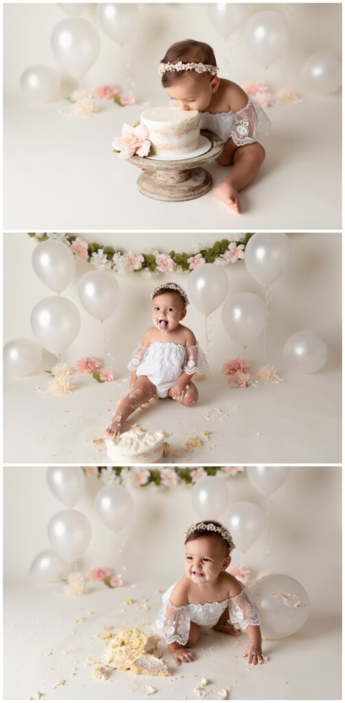 cake smash, one year session, floral, simple cake smash