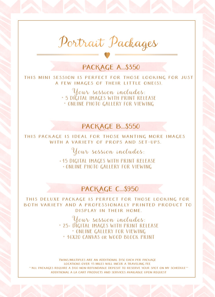 pricing, packages, portrait packages